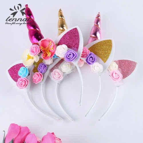 Милая Фея Дети Девочки Красочные Единорог цветок рог волос лента с двумя ушами повязка на голову день рождения цветок корона