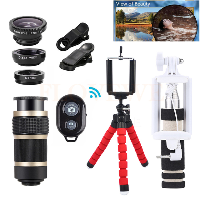 Phone Lens 8X Zoom Telephoto Lenses Fish eye Wide Angle Macro Lentes For iPhone 5 6 7 Xiaomi With Tripod Clips Monopod