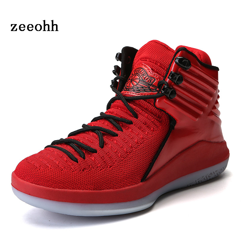 Flying Woven Upper solid color breathable high top basketball shoes largesize men's anti skid easy to bend comfortable sneaker|Basketball Shoes| |  - title=