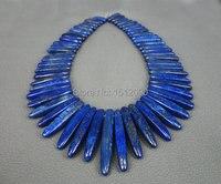 57pcs Strand Natural Lapis Lazuli Top Drilled Points Slice Beads Lapis Gemstone Beads Graduated Stick Beads
