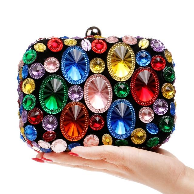 Colorful Diamonds Small Bag Ladies Shoulder Bag Crystal Evening Bag Clutch Bags Day Clutches Lady Wedding Purse Bolsos Bolsas