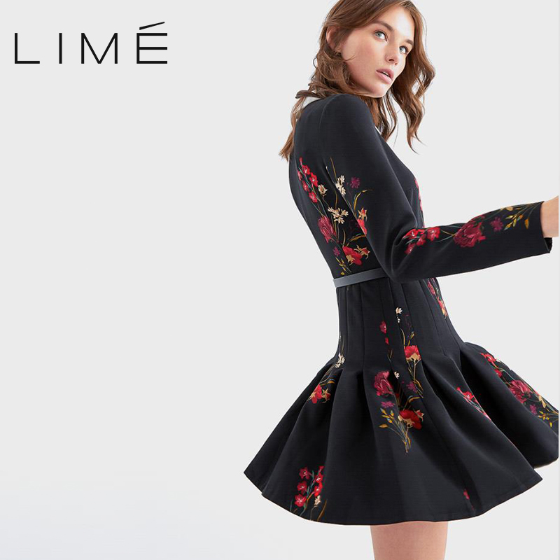 Dress with floral print and belt LIME  400|3426|499