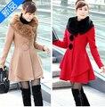 Mujeres abrigo de invierno nueva caída y ropa de invierno falda grande cuello de piel de conejo y largas secciones abrigo de lana de cachemira envío gratis