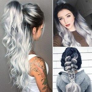 Women Long Black Gradient Hair