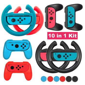10 akcesoria NintendoSwitch 2 kierownica wyścigowa + 2 uchwyty uchwytów + 6 czapek analogowych na przełącznik do nintendo NS Joy-con akcesoria tanie i dobre opinie YOPLGE Nintend Switch Accessories 2 Handle grips 2 Steering wheels 6 Thumbstick caps