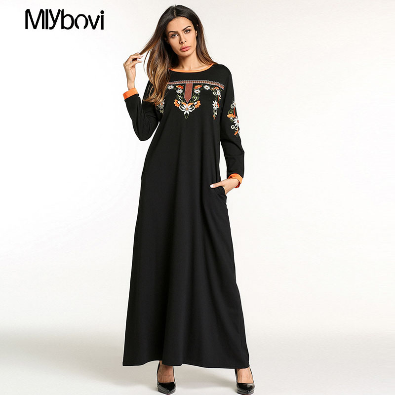 Appliques Eslamic Clothing Muslim Women Dress Elegant Kaftan Abaya Long sleeve Robe women dress clothing kaftan Moroccan cloting ...