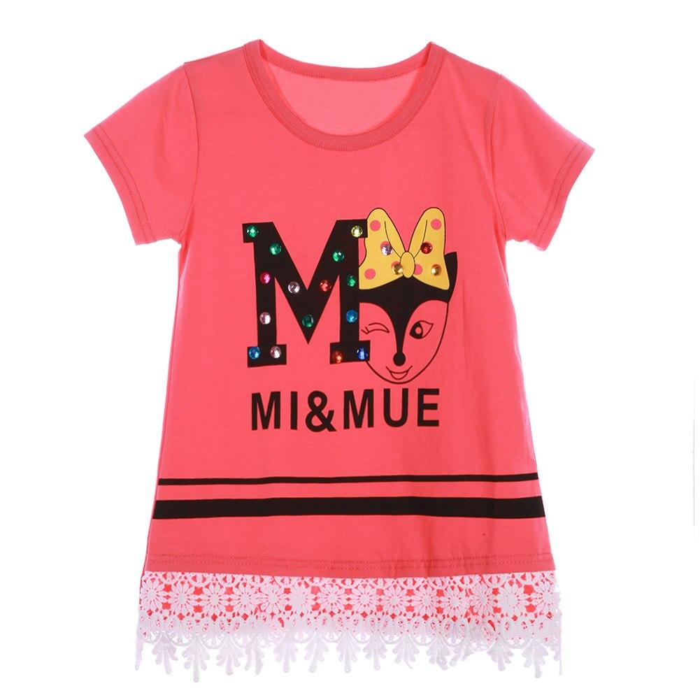 LaceT-shirt Girls Summer Clothing Girls Tshirt Boho Girls Clothes Kids Children Short Sleeve Summer Tops Clothes Costume Kids