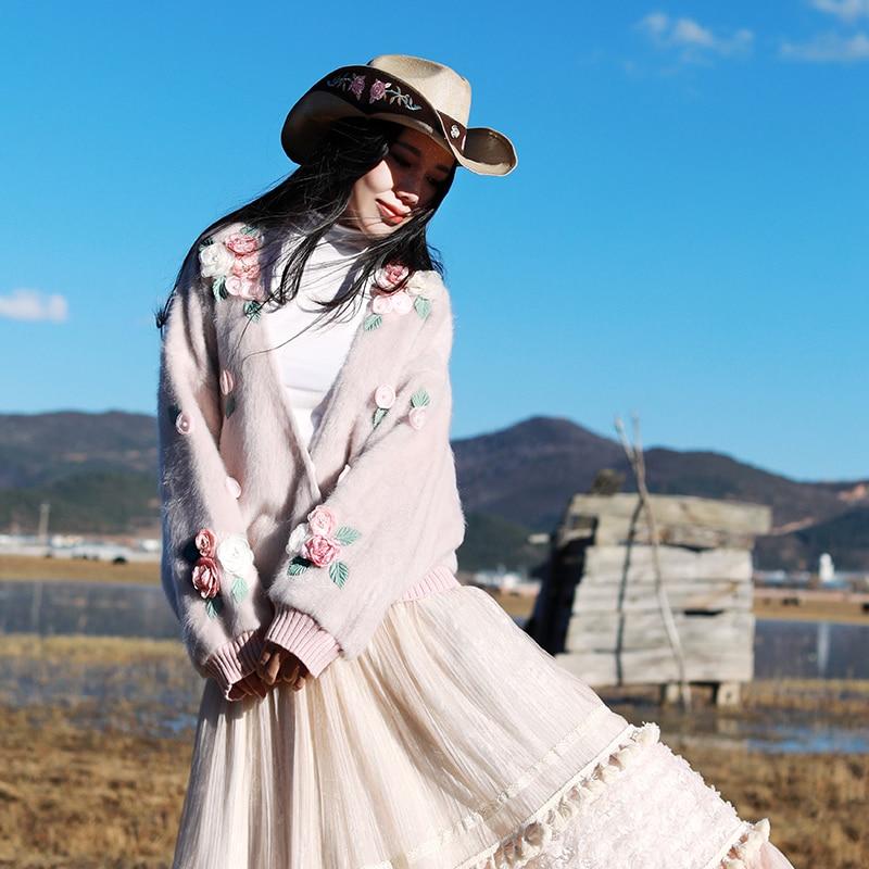 Original Design Spring 2018 sweet vintage oversized beaded flower knitted mohair cardigan sweater women