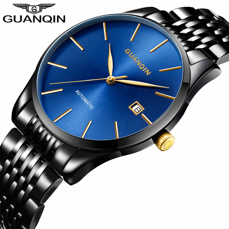 GUANQIN Luxury Brand Fashion Mechanical Watch Men Classic Business Watches Men Automatic Waterproof Stainless Steel Wristwatches guanqin men automatic mechanical watch diamond waterproof sapphire watches steel men luxury top brand menb gold wristwatches