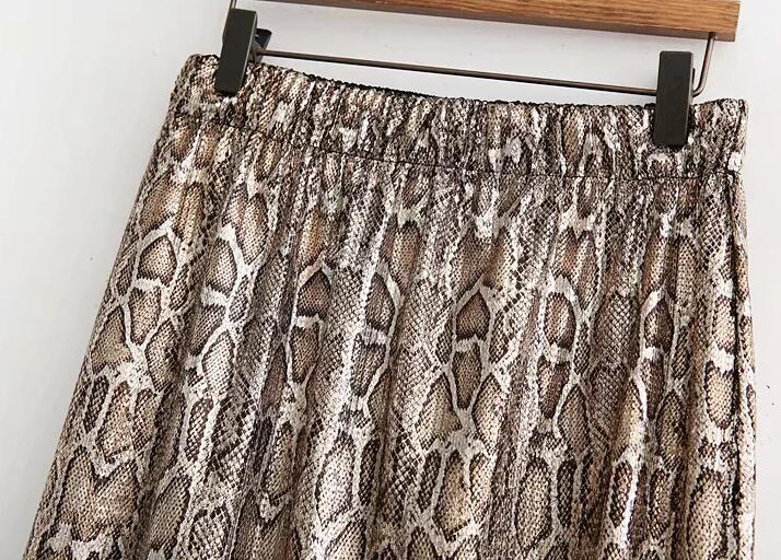 Autumn and Winter Snake Print Long Skirt Sequined High Waist Skirt Lady Fashion Streetwear 12