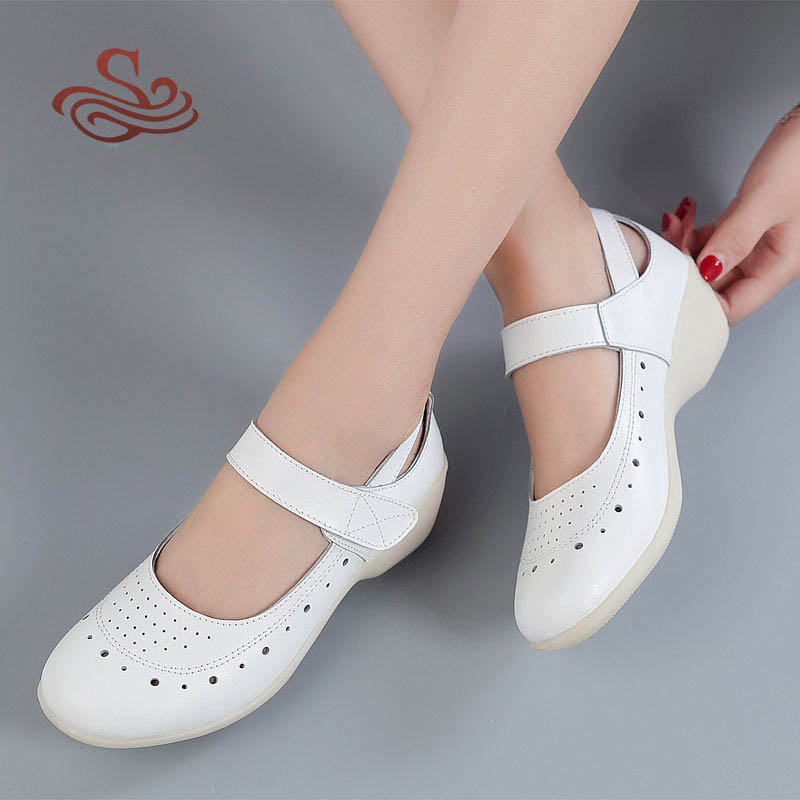Hot Sale Women Genuine Leather Nurse Shoes Fashion Round Toe Cut-outs Mary Jane Women Wedges Work Shoes Cross Strap Women Pumps
