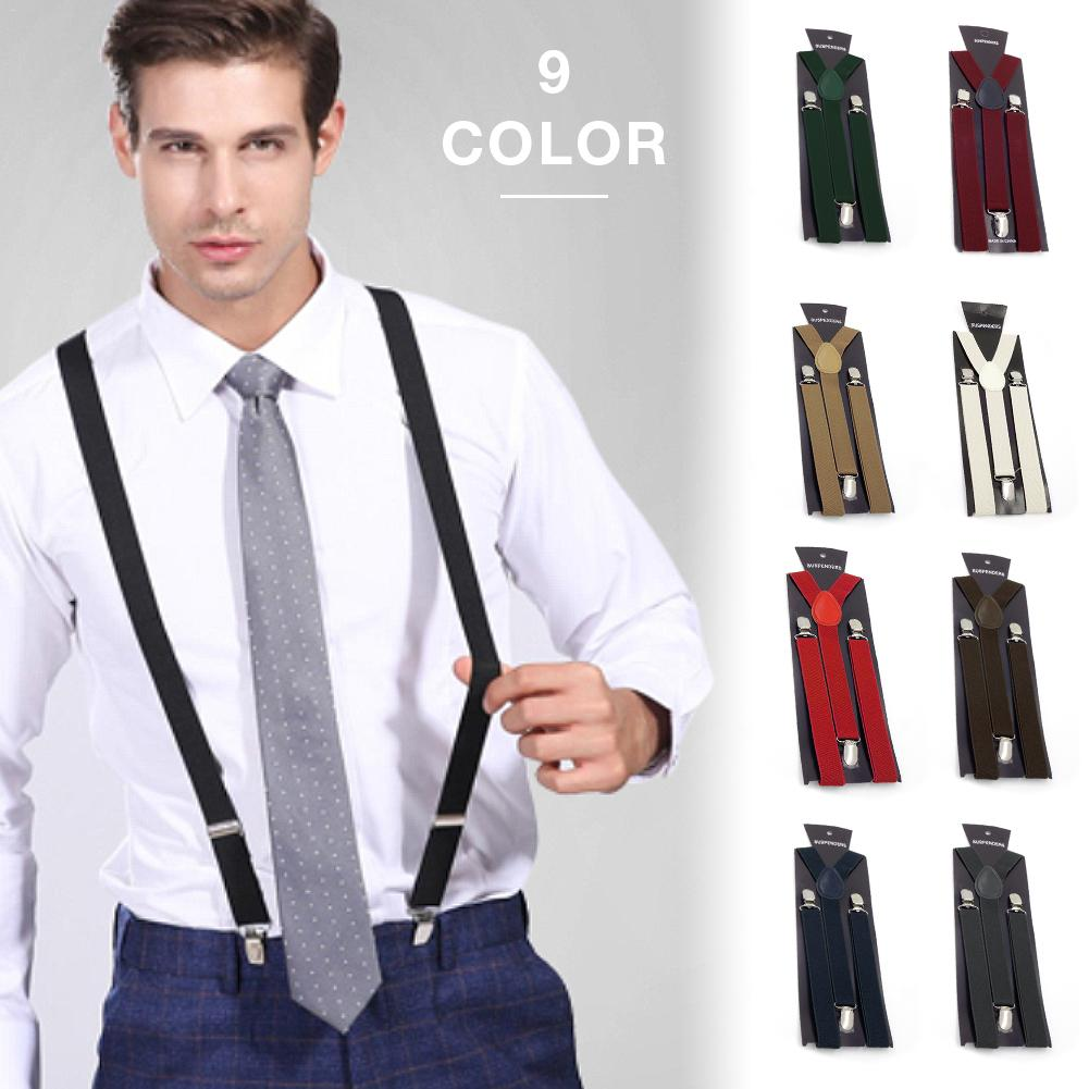 Elastic Braces Clip British Retro Style Adult Unisex Solid Color Adjustable Suspenders Strap With Metal Clip For Men And Women