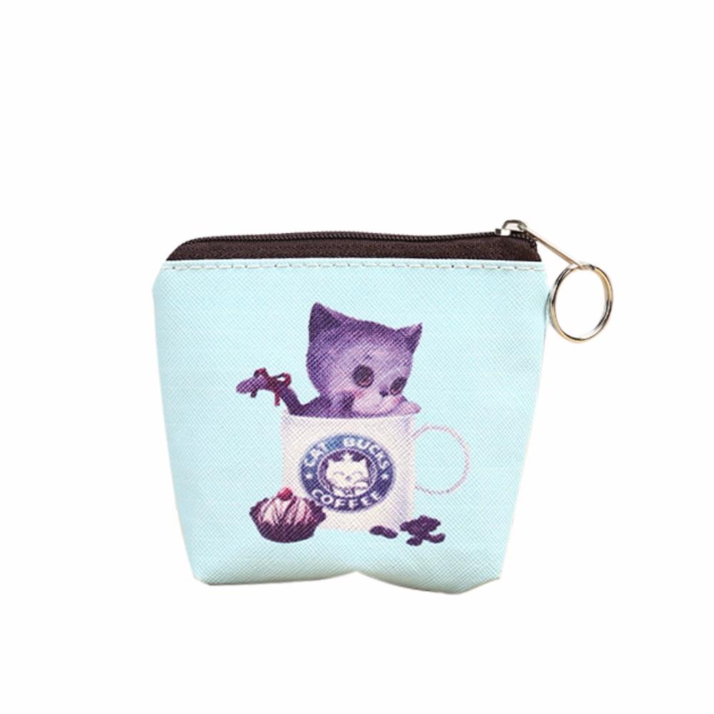 Cat Wallet portable life organize Zip Coin Purse Key Card Bag womens wallets and purses  cute coin holder 6 pattern TONSEE #144 aotian cute cat women girl leather zip coin purse key card bag lady wallet fashion hot new dropshipping 73 08
