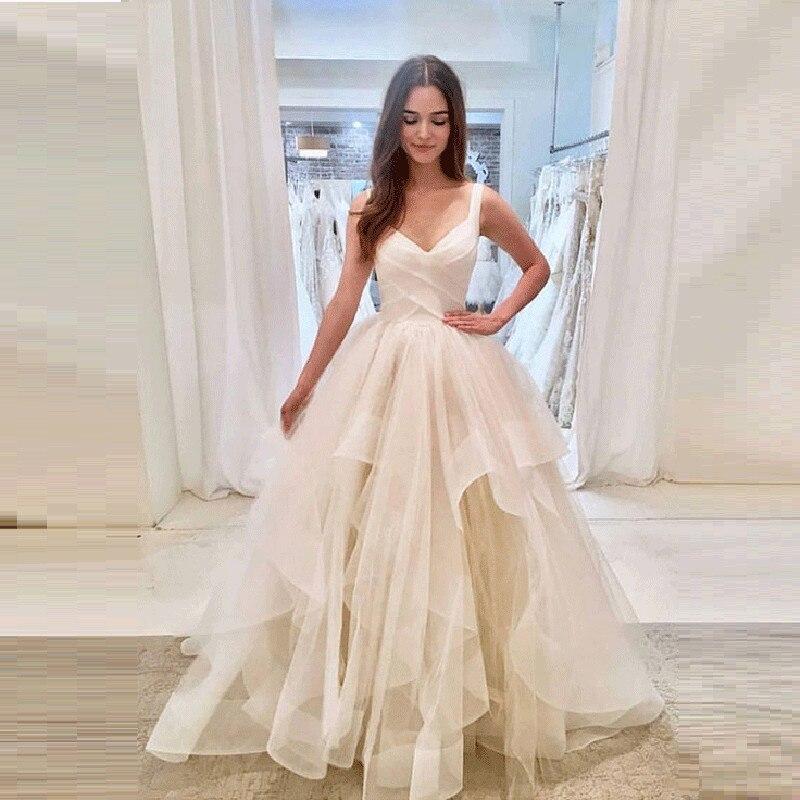 DZW024 V Neck Sleeveless Wedding Dresses Simple Tulle Vestido De Noiva Robe De Mariage Dresses Married White Bridal Gown