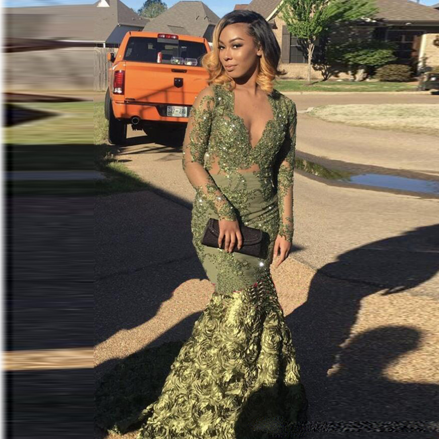 Green 3D Rose Flower Mermaid Prom Gowns 2018 Full Sleeves V neck Beaded Appliques Aso Ebi