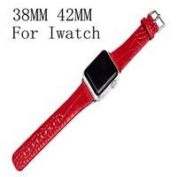 Original do couro pulseira de couro genuíno vermelho 42mm 38mm banda para apple watch iwatch wartch com adaptador do conector
