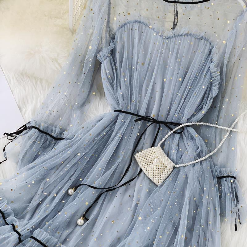 HISUMA spring autumn new women Star sequins gauze flare sleeve lace-up Princess dress female elegant o-neck mesh puff dresses 45