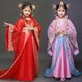 2017 primavera niños bailan trajes niños chicas manga verde chino tradicional ventilador chino antiguo hanfu vestido de ropa infantil