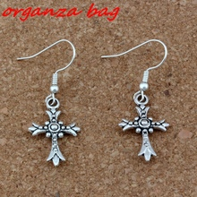 Cross Earrings Silver plated Fish Ear Hook 3pairs/lot Antique Chandelier Jewelry 15x41.5mm A-269e