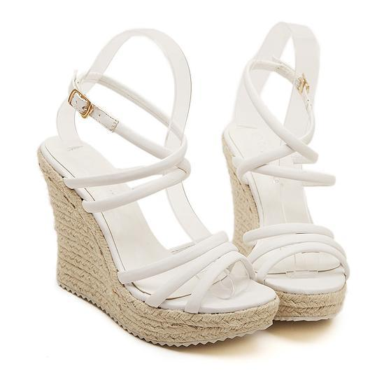 2015 straw braid womens wedge sandals platform high heels strappy ...