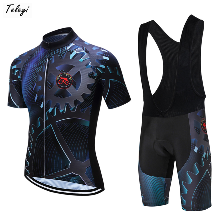 Teleyi 2019 Summer Cycling Jersey Set Breathable Team Racing Sport Bicycle Jersey Mens Cycling Clothing Short MTB Bike Jersey