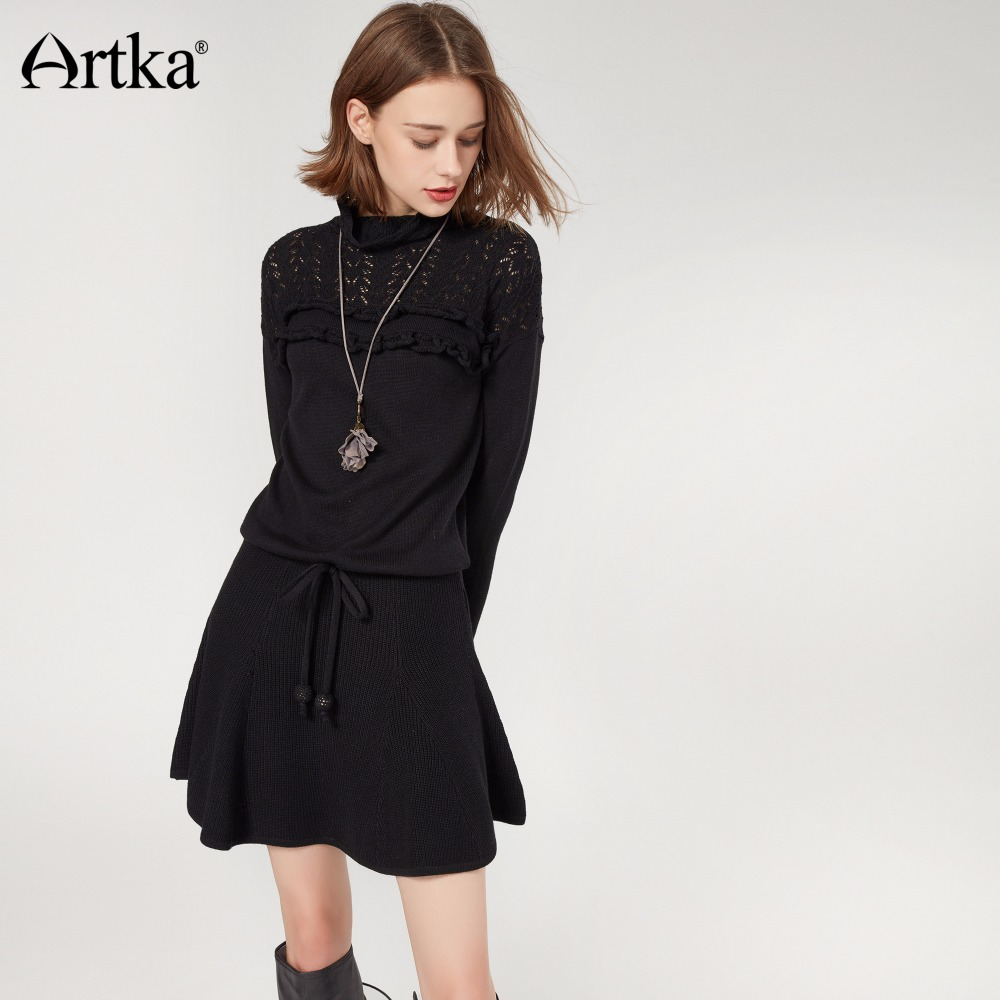 artka autumn sweater dress for women 2017 wool pullover long lace sweater female korean ruffle. Black Bedroom Furniture Sets. Home Design Ideas