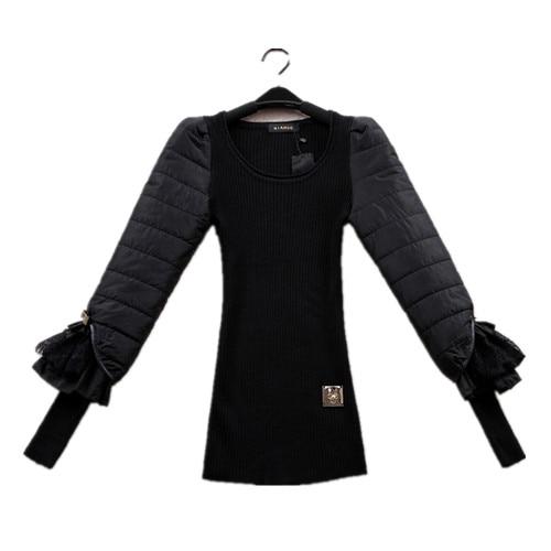 černá podzimní zima základní tenká vlna svetr eiderdown bavlna luk krajka dlouhý rukáv štíhlé tělo ženy svetry svetry FZ14JUN023
