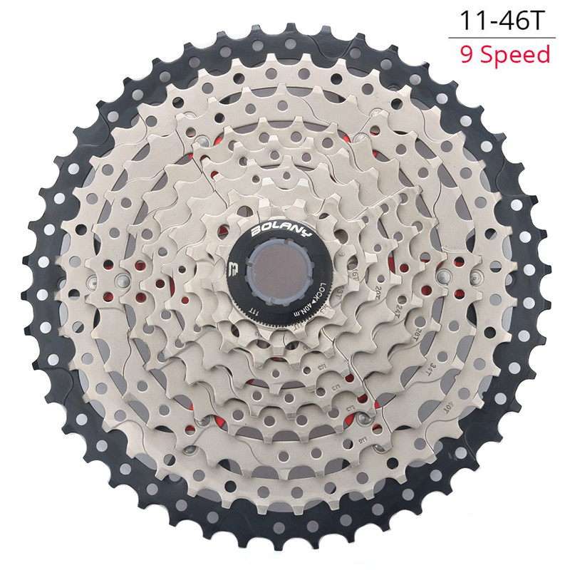 BOLANY 9 27S <font><b>11</b></font>-<font><b>46T</b></font> Single Speed Mountain Bicycle Wide Ratio Bicycle <font><b>Cassette</b></font> Parts Sprockets image