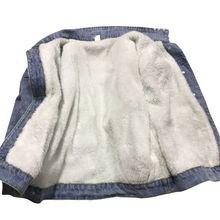 Зимние теплые джинсы с мехом, Женская куртка-бомбер, синяя джинсовая куртка, Женское пальто с полной теплой подкладкой и пуговицами спереди, плоскими карманами