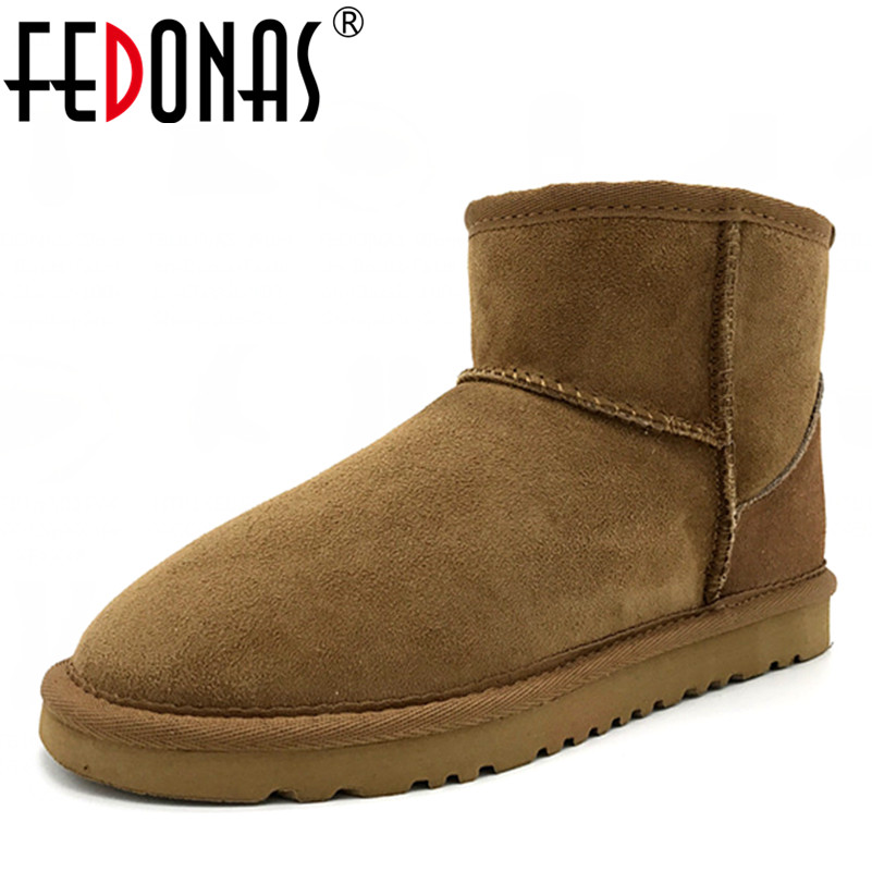 FEDONAS Top Quality Genuine Sheepskin Leather Snow Boots for Women Waterproof Winter Boots 100% Natural Fur Wool Women Boots