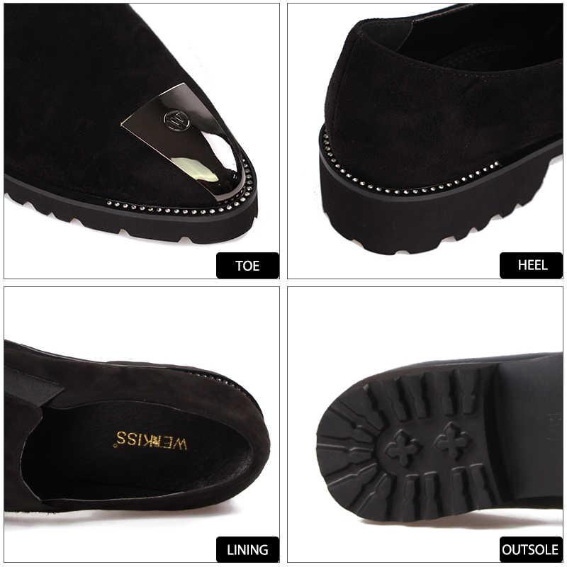 63f13eb9f ... WETKISS/туфли на низком квадратном каблуке со стразами, женские туфли с  острым носком, ...