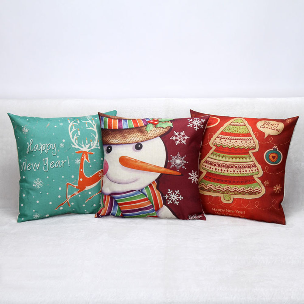 45*45cm Merry Chirstmas Full Printed Cotton Linen Pillow Case Cushion With Invisible zipper Case Cover Christmas Home Decorative