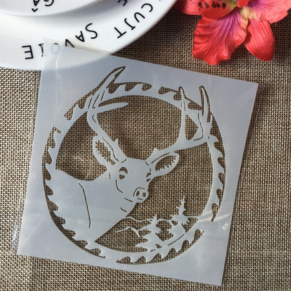 "5"" Round Deer Merry Christmas DIY Layering Stencils Painting Scrapbook Coloring Embossing Album Decorative Paper Card Template