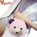 Lindo Oso de Las Mujeres Cara Del Bebé Mini mensajero Del Hombro bolso De Las Mujeres Cross Body Bags de Señora PU Bolsos de Cuero animales