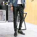 New Arrival Mens Korean Gothic Punk Fashion Faux Leather Pants PU Buckles Hip Hop Black Skinny Leather Trousers For Male