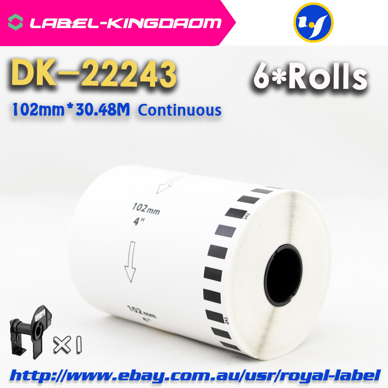 6 Refill Rolls Compatible DK 22243 Label 102mm 30 48M Continuous Compatible for Brother QL 1060