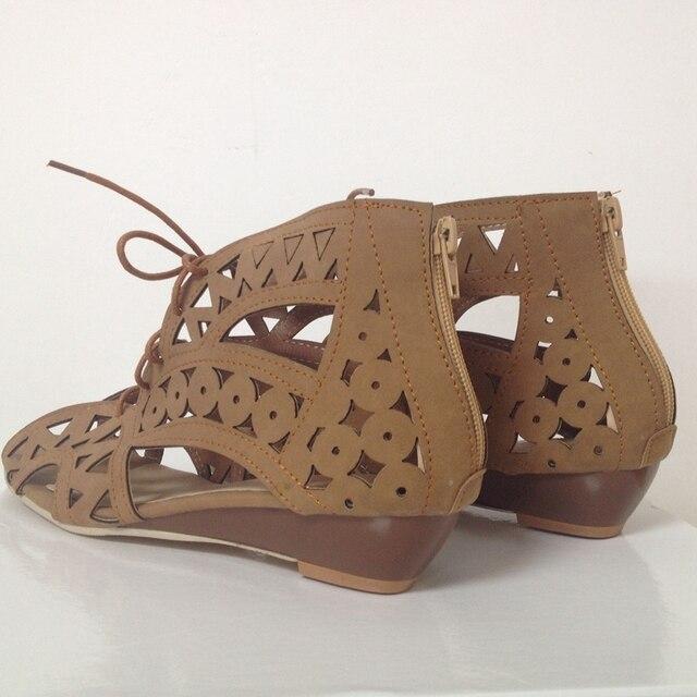 Big Size 31-43 Fashion Cutouts Lace Up Women Sandals Open Toe Low Wedges Bohemian Summer Shoes Beach shoes women AA516