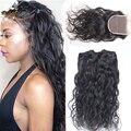 7A виргинских бразильских волос с водой волны закрытие 4 шт. много натуральный черный 100% человеческих волос пучки с закрытием 3.5 x 4 кружева