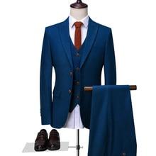 OSCN7 пиковые лацканы, сшитые на заказ костюмы для мужчин, 3 предмета, джентльмен, бизнес, свадьба, на заказ, мужской костюм, блейзер на заказ, 9787-13