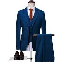 OSCN7 Peak Lapel Tailor Made Suits Men 3 Piece Gentleman Business Wedding Custom Made Mens Suit Blazer Customize 9787 13