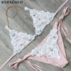RXRXCOCO New Sexy Lace Bikini Set Diamond Swimsuit Crystal Swimwear Women Bikinis Brazilian Biquinis Bandage Beachwear