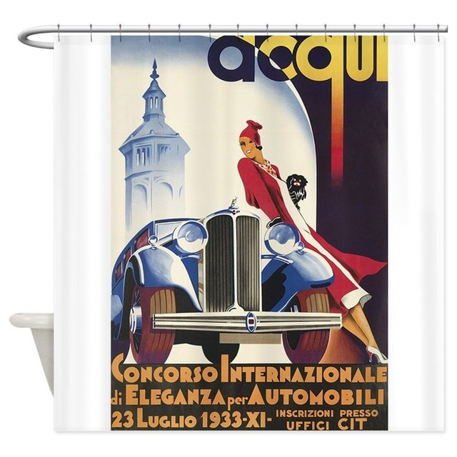 Vintage Italian Car Show Poster Shower Curtain