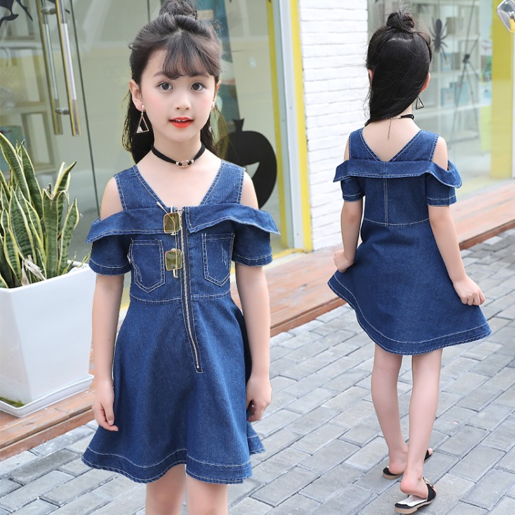 Girls Denim Dresses for Children Jean Clothes 2018 New Fashion Casual Dress Blue Short Sleeve Jeans Vestidos 4-13 Years men s cowboy jeans fashion blue jeans pant men plus sizes regular slim fit denim jean pants male high quality brand jeans