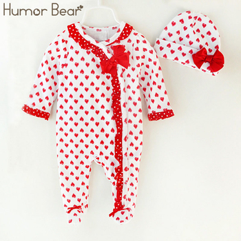 Humor Bear Christma Love Baby Girl Clothes Bow Romper Clothing Set Jumpsuit Hat 2PC Cute Infant Girls Rompers Baby suit conjuntos casuales para niñas