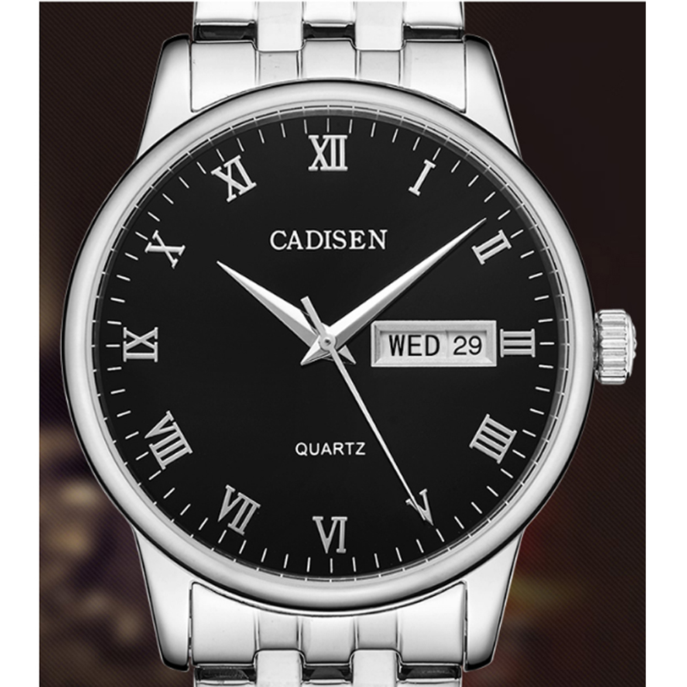 Cadisen 2018 Mens Watches Top Brand Luxury Business Stainless Steel Quartz Watch Men Classic Waterproof Clock relogio masculino migeer relogio masculino luxury business wrist watches men top brand roman numerals stainless steel quartz watch mens clock zer
