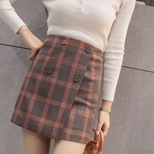 2018 New Autumn Skirts Womens Fashion Plaid Skirt Femme High Waist Vintage Female Casual Elegant Buttons Women Skirt Ladies