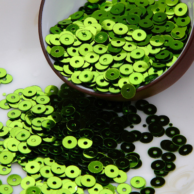 50g 10000pcs lt green color 4mm Flat round loose sequins Paillettes sewing Wedding craft Good quality Free Shipping in Sequins from Home Garden