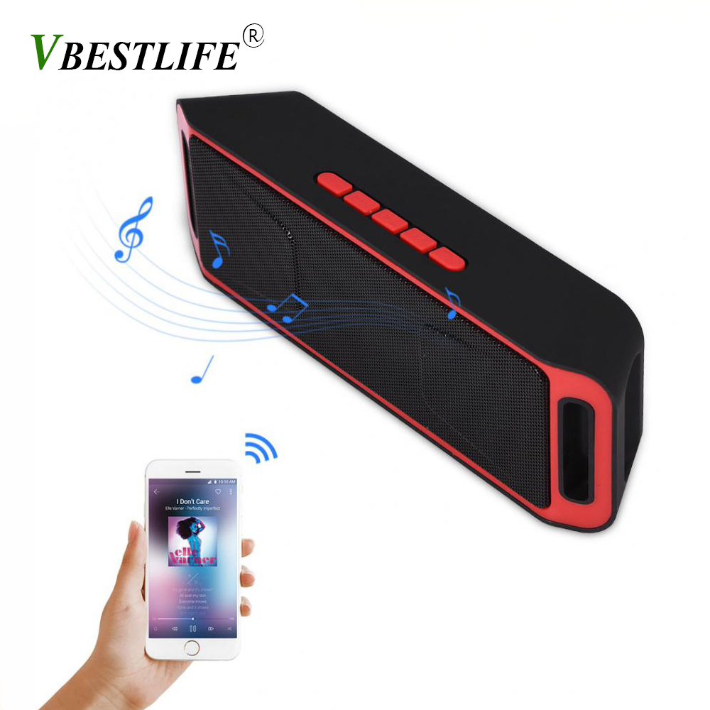 VBESTLIFE SC208 Portable Bluetooth Speaker Hifi Stereo Bass Subwoofer Soundbar Support TF Card USB AUX FM Radio Mic Speakers