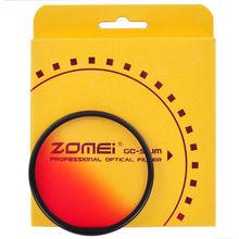 Zomei 40.5/49/52/55/58/62/67/72/77/82 filtro de câmera fino graduado filtro gradual azul laranja vermelho cinza para sony canon nikon
