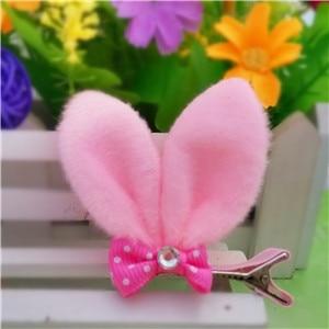 M MISM, новые аксессуары для волос для девочек, Разноцветные Милые заячьи ушки, шпильки для волос в горошек, Детская Милая заколка для волос - Цвет: Pink
